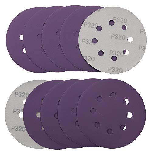 Klett-Schleifscheiben Ø125 mm, Schleifpapier Körnung 320, 10 Stück Schleifblätter Set für Exzenterschleifer,Schwingschleifer von MAXMAN