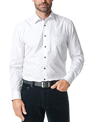 Walbusch Herren Hemd Easycare einfarbig Uni Weiß 45-46 - Langarm
