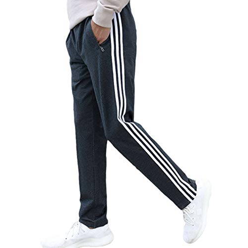 Kunfang Pantalones de chándal Sueltos Casuales para Hombres Pantalones básicos Chándal Pantalones de Rayas Laterales Ropa Deportiva Transpirable Pantalones con código Grande