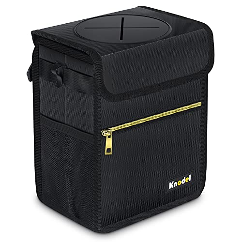 Knodel Car Trash Can with Lid, Leak-Proof Car Garbage Can with Storage Pockets, Waterproof Auto Garbage Bag Hanging for Headrest (Small, Black)