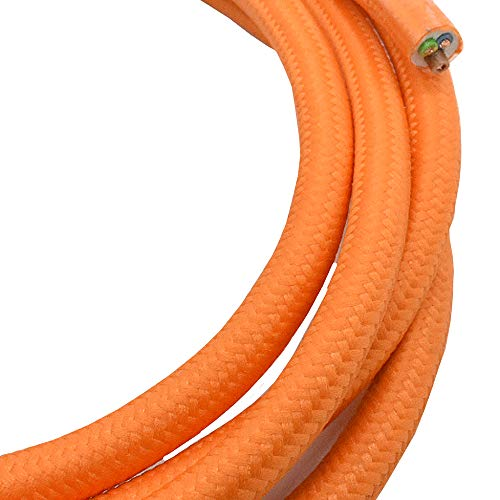 Câble textile Orange Longueur au choix 1.20/3/5/10mètres 3fils de plastique Câble Lampe Leuchten Câble Câble rond recouvertes