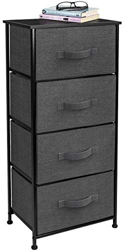 Sorbus Dresser with 4 Drawers - Tall Storage Tower Unit Organizer for Bedroom, Hallway, Closet, College Dorm - Chest Drawer for Clothes, Steel Frame, Wood Top, Easy Pull Fabric Bins (Black/Charcoal)