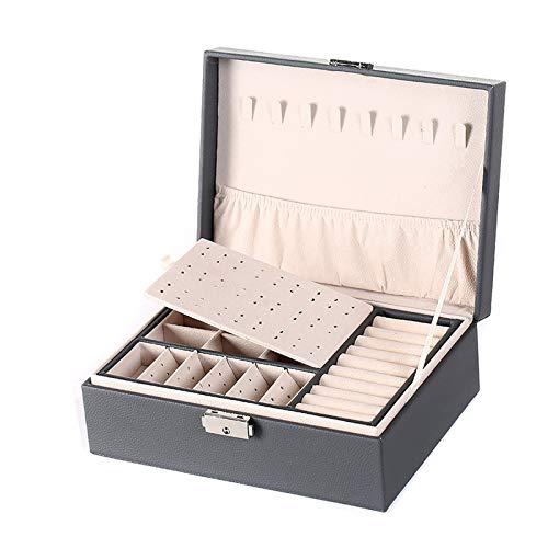 CHENGXI Caja de joyería para mujer, doble capa, gran capacidad, con cerradura y llave, joyería de pendientes, collar, caja organizadora de joyería de piel sintética, caja de almacenamiento para mujer
