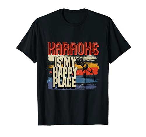 Vintage Karaoke Is My Happy Place Singing Bar Microphone T-Shirt