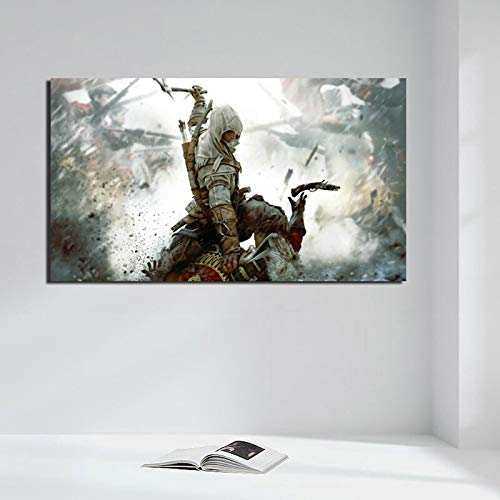 KWzEQ Spielcharakter kämpfen Leinwand Kunstdruck Wohnzimmer Hauptdekoration Ölgemälde Moderne Kunst,Rahmenlose Malerei,40x70cm