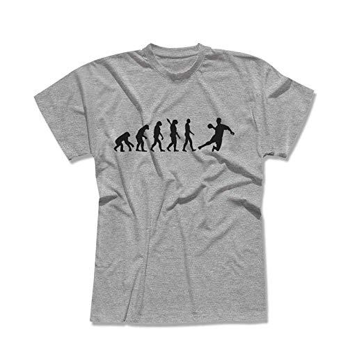 T-Shirt Evolution Handball DKB HBL Bundesliga THW Füchse Wetzlar Minden Lemgo Gummersbach Kreisläufer 13 Farben Herren XS-5XL, Größe:S, Farbe:hellgrau meliert - Logo schwarz