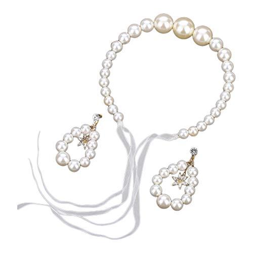 Coreano Imitación Gran Perla Diadema Pelo Aro Nupcial Dulce Pendientes Conjunto de Joyería de Boda Diademas para Bebé Niñas 6-12 meses