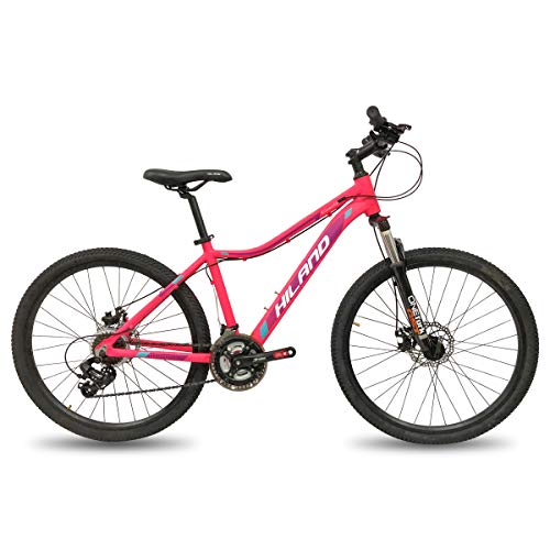 Hiland 26 Inch Mountain Bike for Women Disc Brake Urban Commuter City Bicycle Pink