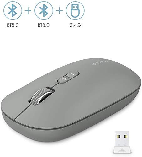 OMOTON Kabellose Maus, Bluetooth5.0 + Bluetooth3.0 + 2.4 GHz Verbindung via Unifying USB-Empfänger, 3 Modus Funkmaus für iPad/PC/Tablet/Laptop mit Windows/Mac/Linux/Android/iOS System, Grau