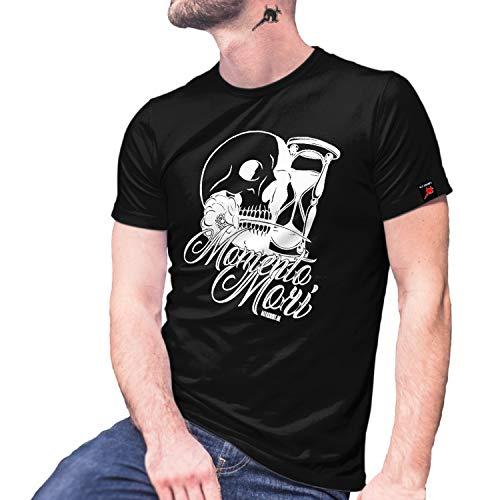 Momento Mori Love Mexiko Skull Totenkopf Sanduhr Style Fashion T-Shirt #29045, Größe:L, Farbe:Schwarz