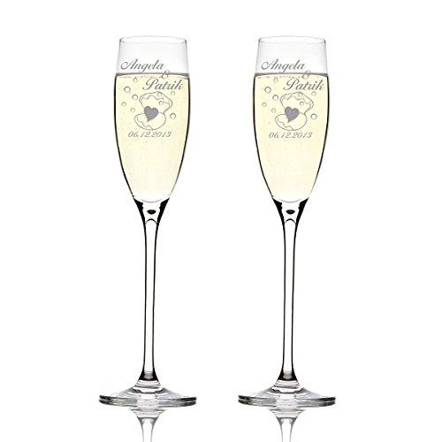 Deux flûtes LEONARDO Cheers Gravure motif : Cœur Dans avec coquillage et bulles