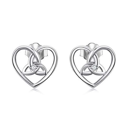 SLIACETE Sterling Silver Celtic Knot Heart Triangle Knot Stud Earrings Celtic Jewelry for Women