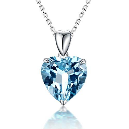 Collana girocollo da donna con topazio blu naturale, con ciondolo a forma di cuore dell'oceano