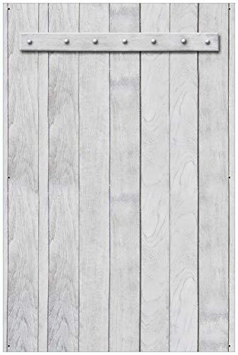 Wallario Garten-Poster Outdoor-Poster - Graue Holztür in Premiumqualität, Größe: 61 x 91,5 cm, für den Außeneinsatz geeignet