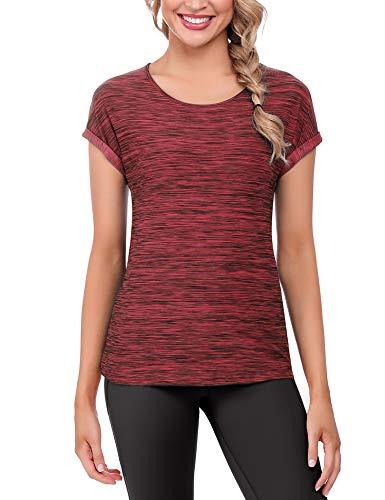 iClosam Damen Sport Fittnes Shirts Kurzarm Laufen Schnell Trocken T-Shirt (Rot, XL)