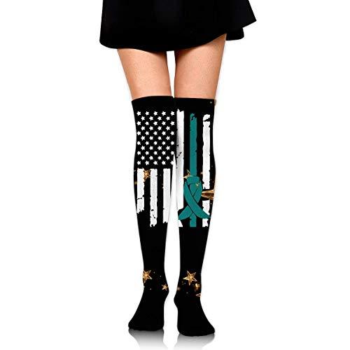 Nice-Guy Concientización sobre el cáncer de ovario USA Flag-1 Girls Fashion Over Knee Thigh High Socks Stocking