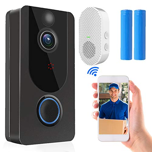 WiFi Video Doorbell Camera, Wireless Doorbell Camera with Chime, Motion Detection Smart Doorbell Support Cloud Storage, Remote HD Call, Night Vision(with Free APP)