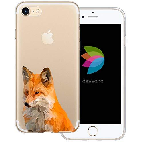 dessana Comic Füchse durchsichtige Schutzhülle Handy Hülle Cover Tasche für Apple iPhone 8 Polygonal Fuchs