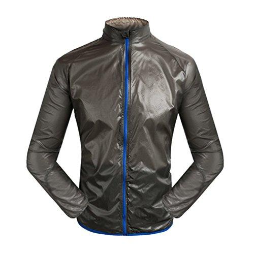 Dexinx Uomo Impermeabile e Traspirante Antivento Cerniera Esecuzione di Equitazione del Rivestimento del Cappotto di Sport Lungo Sport Manica Bicicletta della Montagna Nero 3XL