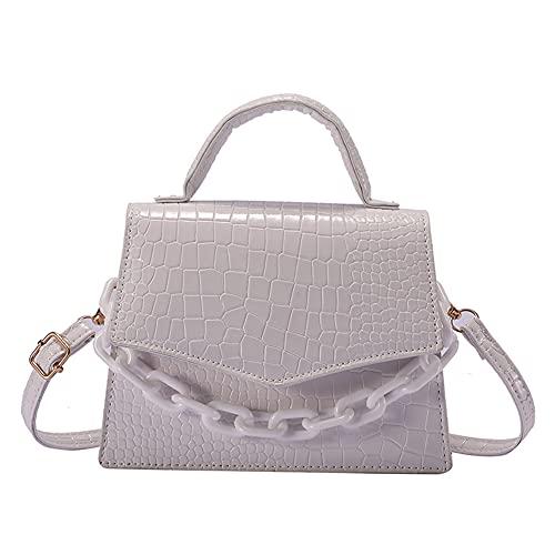 DENSIYA Krokodilmuster Umhängetasche, kleine Handtasche, mit Acrylkette, quadratische Form, cooler und moderner Stil, geeignet für Einkaufen, Arbeit und Urlaub