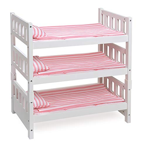 Badger Basket 1-2-3 Convertible Doll Bunk Bed with Bedding (fits American Girl Dolls), White/Pink (18581)