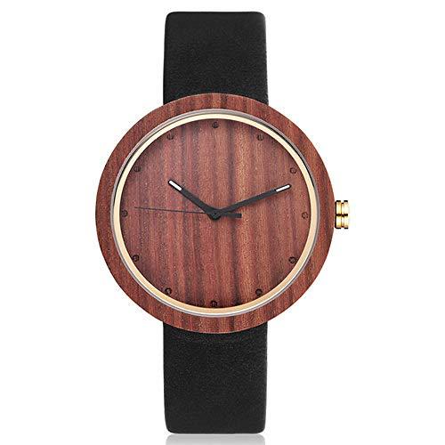 LCDIEB Reloj Elegante de Moda para Mujer, Reloj de Madera para Hombre, Correa de Cuero, Estilo Simple, Reloj de Pulsera de Madera de Cuarzo Informal para Hombre, para Mujer, Negro