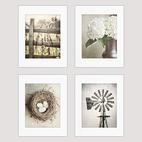 Farmhouse Shabby Chic Set of 4 Wall Art Photography Prints (Not Framed). Neutral Tan, Beige and Soft Gold Rustic Fence, Flowers, Nest and Windmill. (4 8x10 Prints with 11x14 Mats)