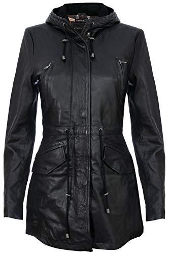 Infinity Leather Parker Jacke Aus Schwarzem Leder Mit Kapuze Und Mehreren Taschen S