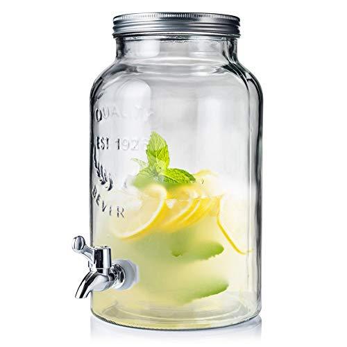 ORION Getränkespender Glas Limonadenspender Zapfhahnflasche mit Zapfhahn Gläser Trinkgläser Cocktail Drinking Retro 5,5 L