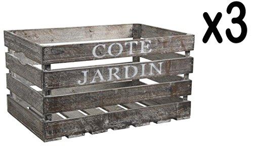 PEGANE Lot de 3 caisses en Bois Vieilli Côté Jardin, 38 x 28 x 20 cm