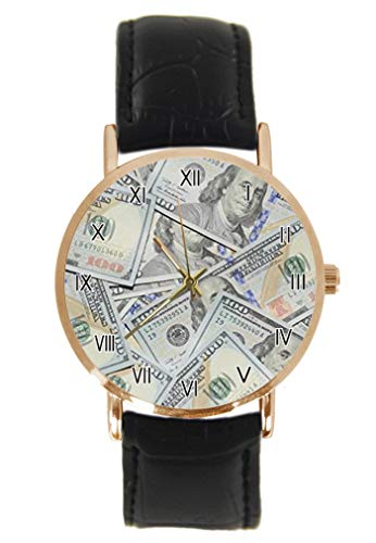 Divertido reloj de pulsera de 100 billetes de dólares, unisex, analógico, cuarzo, caja de acero inoxidable, correa de cuero