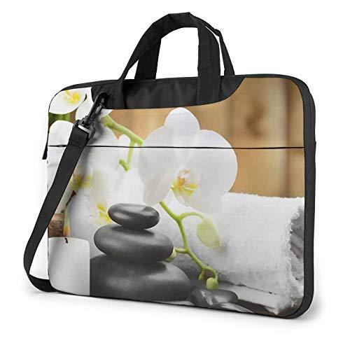 Laptop Bag Satchel Tablet, Asian SPA Stones Bolso Bandolera de bambú para portátil, Bandolera para portátil, Bandolera, Funda, ultradelgada, Duradera para Mujeres y Hombres
