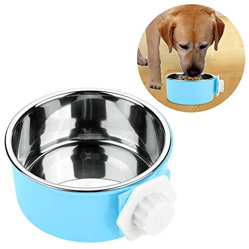 HEEPDD Huisdier Hangende Bowls, RVS PP Hond Voedsel Water Bowl met Verwijderbare Schaal Gemakkelijk Hangend Voeding Gereedschap voor Honden Katten Konijnen Vogels Kooien, Blauw