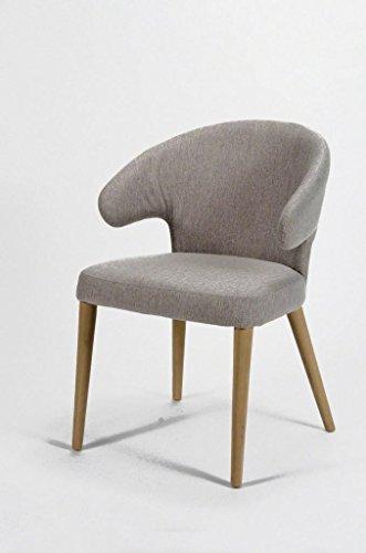 Esszimmerstuhl CURVO Design Stuhl mit Stoffbezug und Eichengestell, Farbe:Lehmfarben