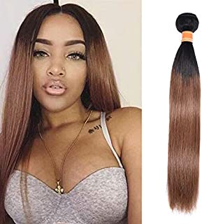 """Valentines Day Gifts Ombre Brazilian Straight Hair Bundles 2 Tone Remy Human Hair Extensions 1b/30 Natural Black To Auburn Brown Weave Weft Bundles 100g/pack For Women 14"""""""