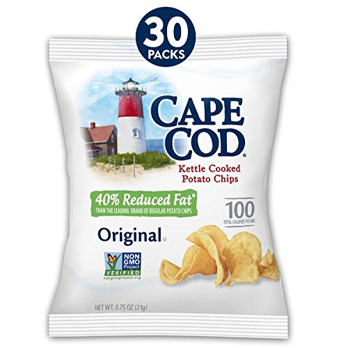Cape Cod Potato Chips, Original Reduced Fat Kettle Cooked Chips, Snack Bags, 30 Count