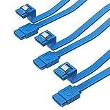 Sabrent 3x Cavo Dati SATA III (6 Gbit/s) ad Angolo Retto con Linguetta di Blocco per drive HDD / SSD / CD / DVD (Confezione da 3 - 50 cm) Blu (CB-SRB3)