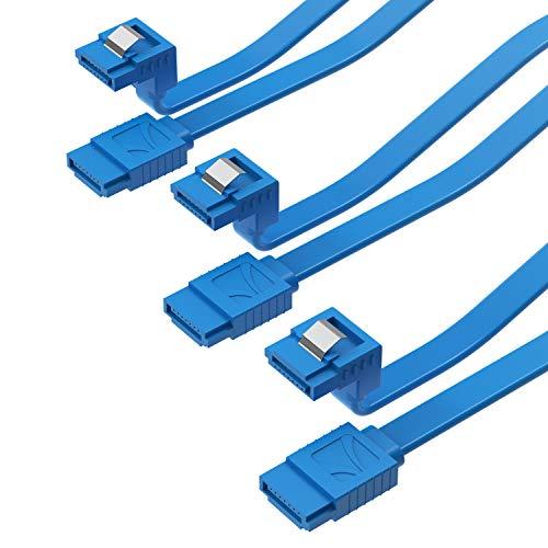 SABRENT SATA III (6 Gbit/s) rechtwinkliges Datenkabel mit Verriegelungsriegel, für HDD/SSD/CD und DVD-Laufwerke (3 Stück – 50,8 cm) in Blau (CB-SRB3)