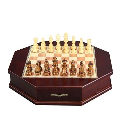 DFJU Ajedrez de Madera Artesanal Octogonal Europeo con Dos cajones de Terciopelo Juego de Tablero de ajedrez para niños Juego de Mesa para Adultos (Ejercicio de Pensamiento Intelectual)