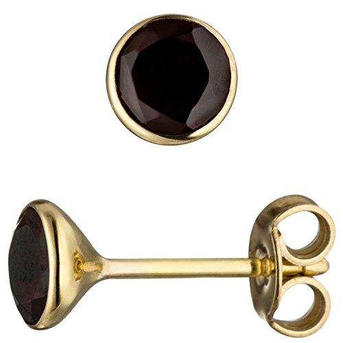 JOBO Damen-Ohrstecker aus 585 Gold mit Granat Rund