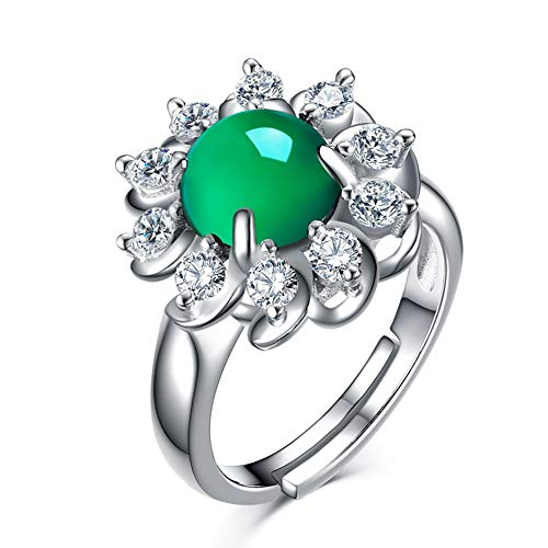 Anillo De Plata De Ley 925 De Calcedonia Verde Natural Para Mujer Anillos De Esmeralda Verde Jade Ágata Circón Compromiso 925 Joyería