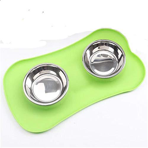 Aimili Cuenco para mascotas, cuenco de gato y cuenco para perro, tazón doble de silicona de acero inoxidable, para alimentación y bebida de mascotas, 45 x 26 x 4,5 cm, verde
