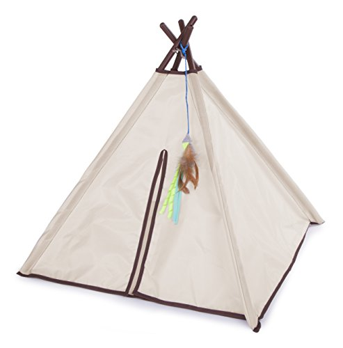 SmartyKat Kitty Camp Cat Tent and Feather Toy