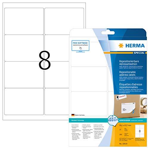 HERMA 10018 Adressaufkleber DIN A4 ablösbar (99,1 x 67,7 mm, 25 Blatt, Papier, matt) selbstklebend, bedruckbar, abziehbare und wieder haftende Adress-Etiketten, 200 Klebeetiketten, weiß
