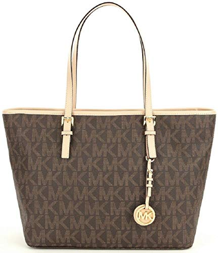 Michael Kors Jet Set Travel Top Zip Signature Monogram Tote, Brown