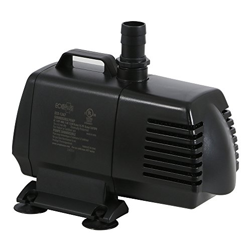 EcoPlus 1340 GPH (5072 LPH, 125W) Submersible Water Pump w/ 15 ft Power Cord | Aquarium, Fish Tank, Fountain, Pond,...