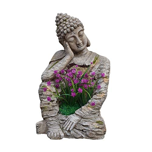 ZHANGAIGUO Estatuas Zen Buddha, Buda Meditación Maceta De Maceta Decoraciones - Retro Old Homestay Al Aire Libre Patio Villa Balcón Jardín Pots Ornamento
