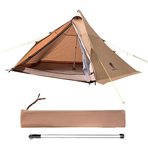 TAOBEGJ 2 Personas, Carpa Compacta, Trekking Ultraligero, Camping Impermeable, Carpa Robusta Al Aire Libre, Carpas para Mochilero, Camping, Senderismo,Brown