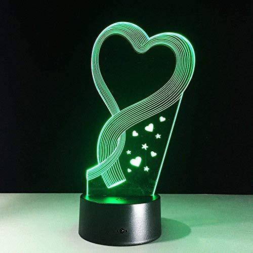 3D-folie Beste moeder hartvormige lamp 7 kleuren veranderende touch-schakelaar USB decoratief nachtlampje voor babyslaapverlichting
