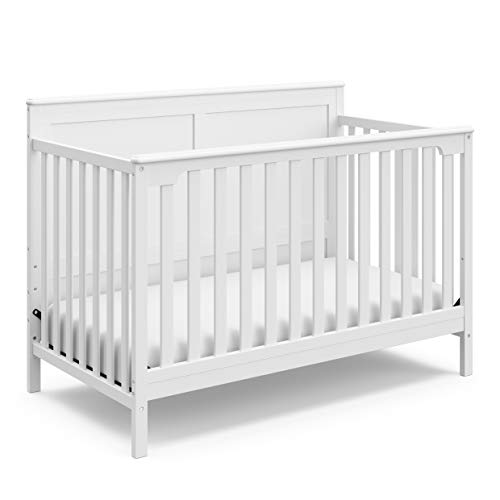 Storkcraft Alpine 4-in-1 Convertible Crib (White) – JPMA Certified, Converts to Toddler Bed, Daybed, and Full-Size Bed with Headboard and Footboard, Adjustable Mattress Support Base